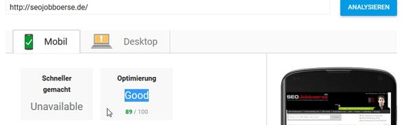 Pagespeed Ergebniss für seojobboerse.de