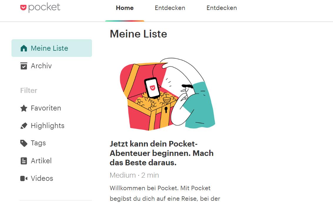 Content-Organisation mit Pocket