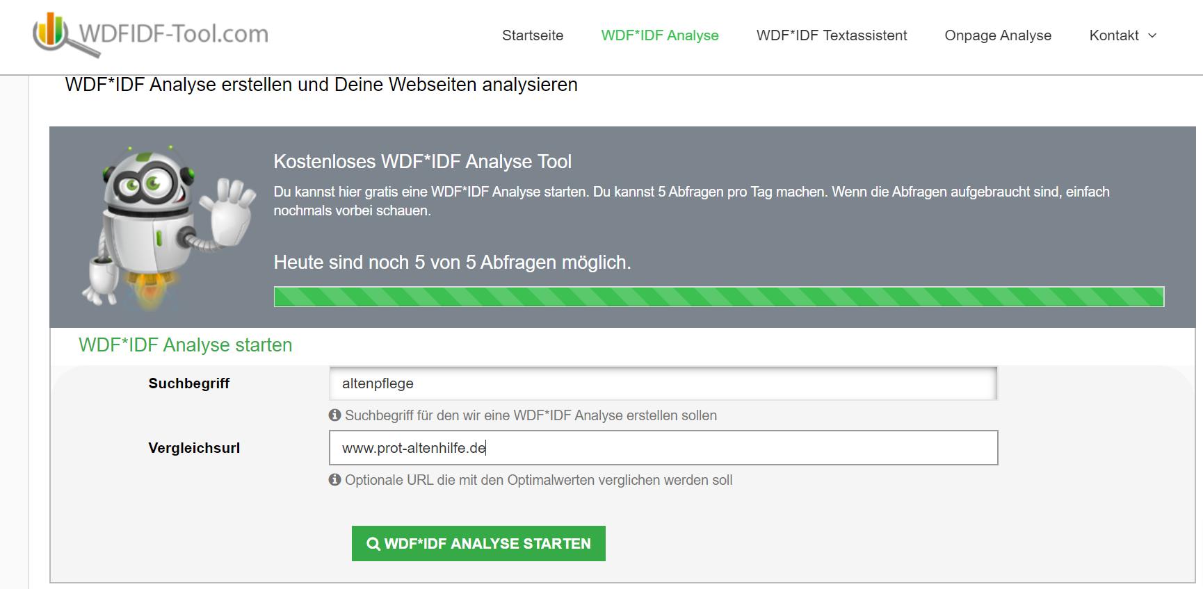 Textoptimierung mit dem WDF*IDF Tool