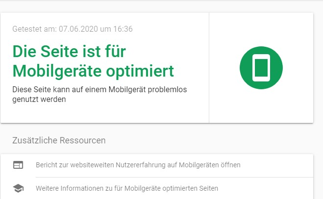 Google Mobile Friendly Test - Testergebnis